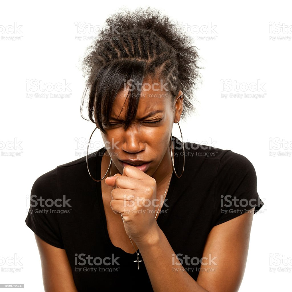 A young woman coughing roughly stock photo