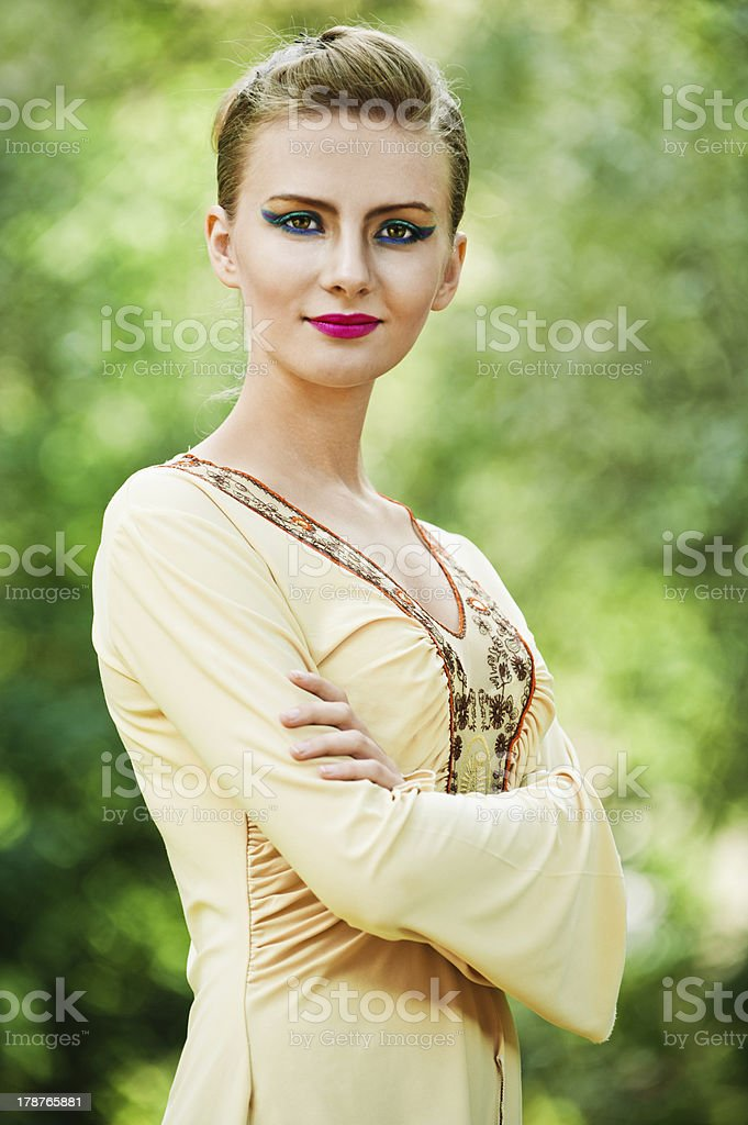 young woman crossed arms royalty-free stock photo