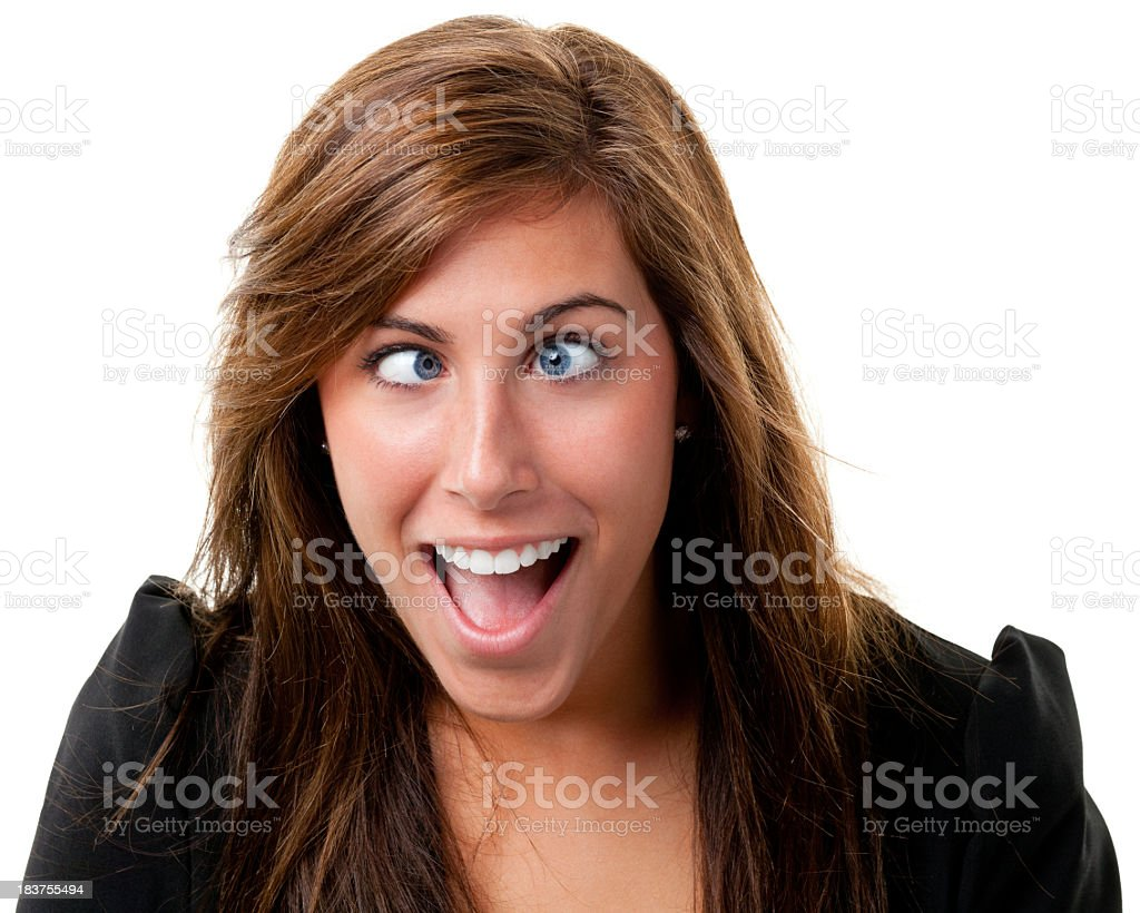 Young Woman Crosses Eyes stock photo
