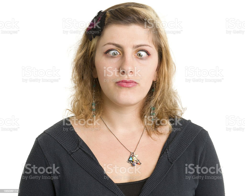 Young Woman Crossing Eyes royalty-free stock photo