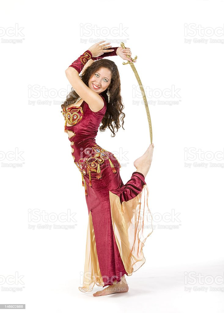 young woman dance with sword stock photo