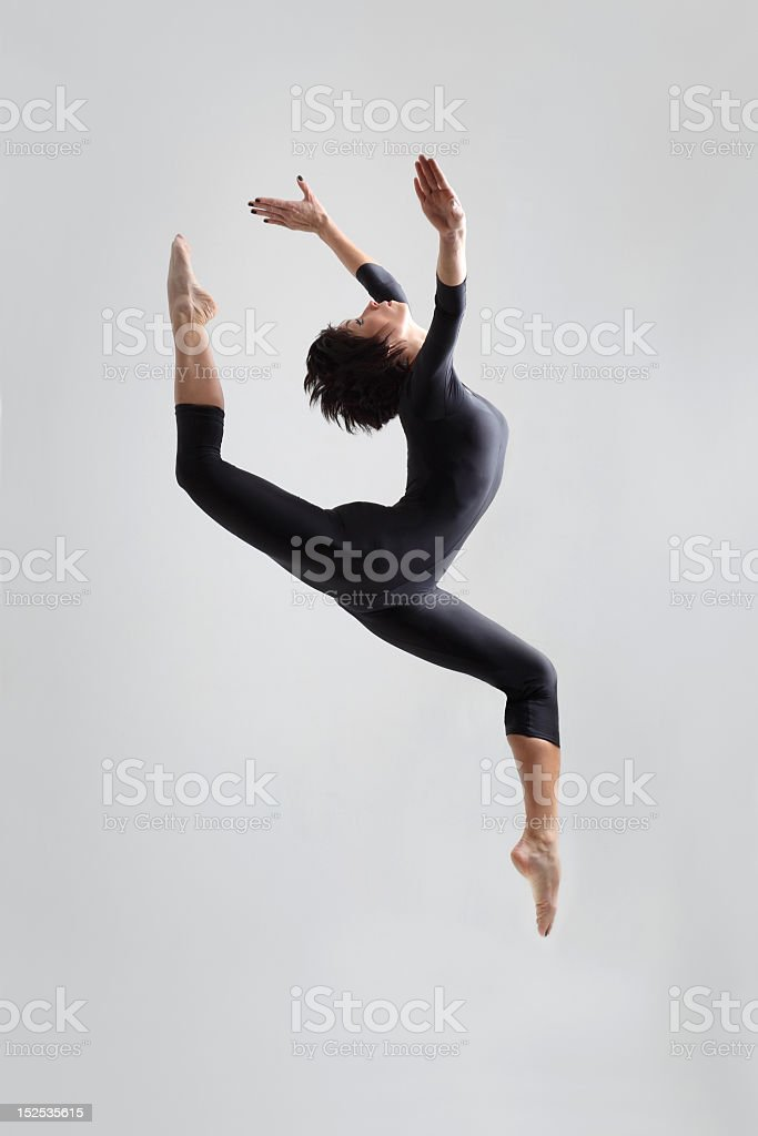 Young woman dancing contemporarly stock photo