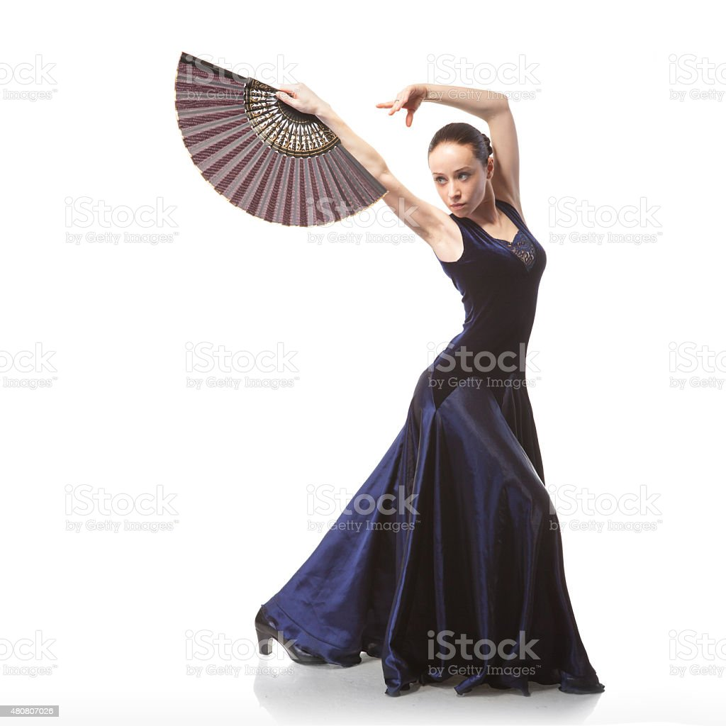 young woman dancing flamenco isolated on white stock photo