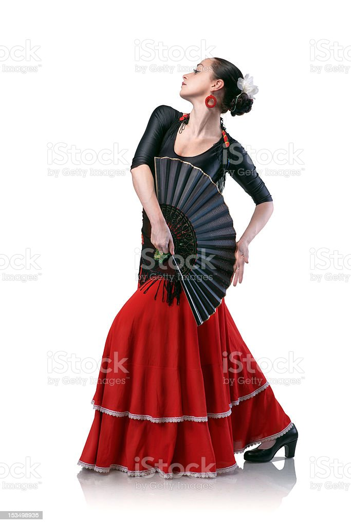 young woman dancing flamenco with fan isolated on white stock photo