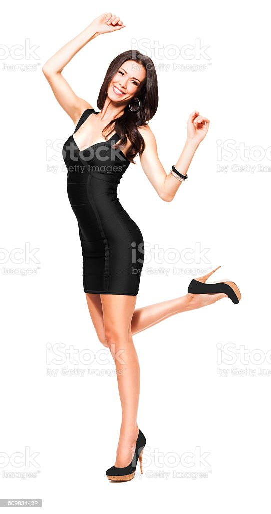 Young Woman dancing on white stock photo