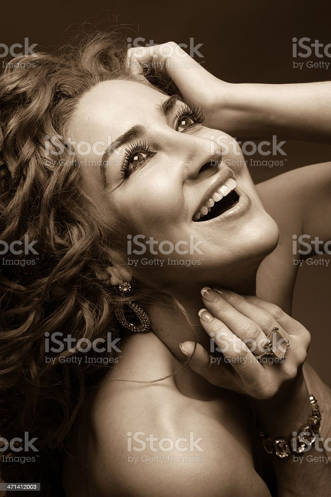 Young woman day dreaming stock photo