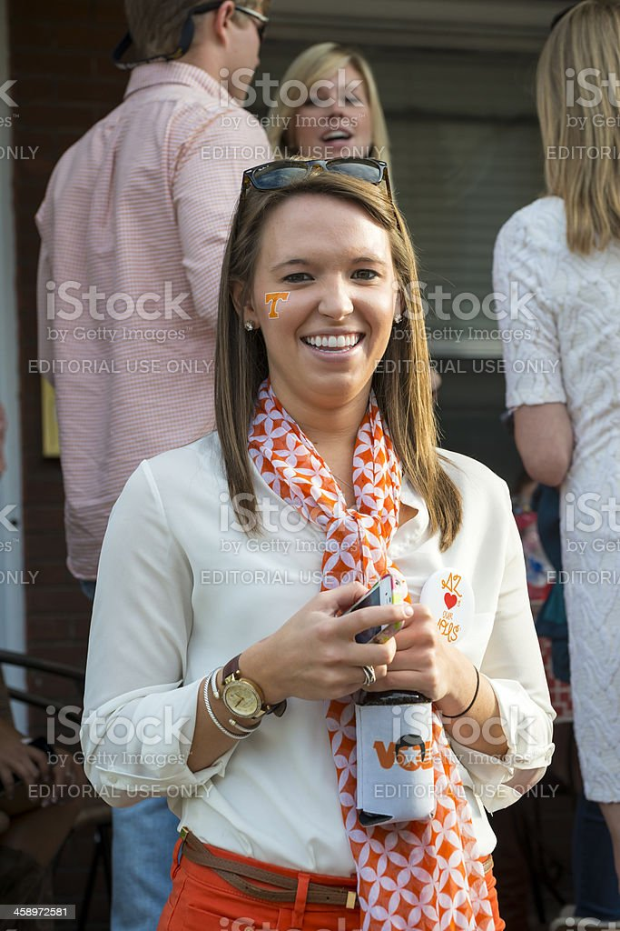 Football party at University of Tennessee stock photo