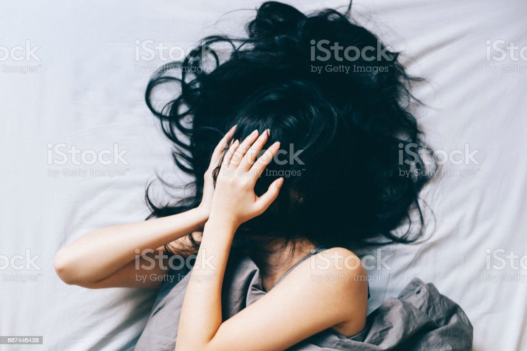 Young woman distressed stock photo