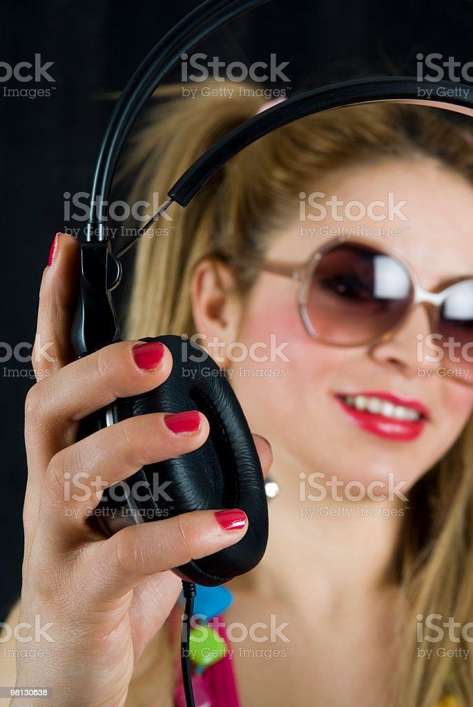 young woman DJ stock photo