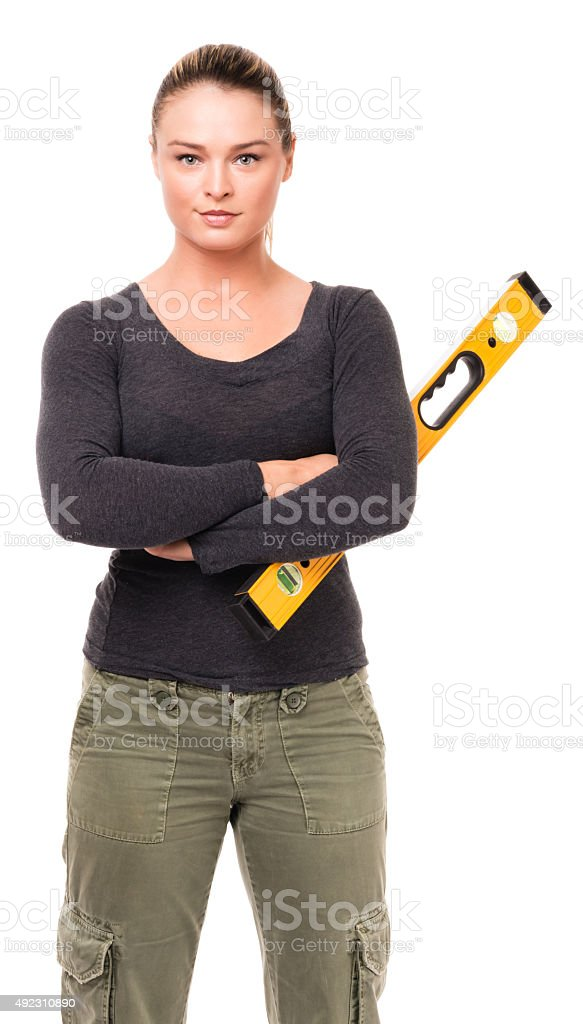 Young Woman Do It Yourselfer on White stock photo