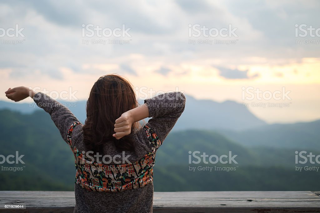Young woman do stretching in early morning stock photo