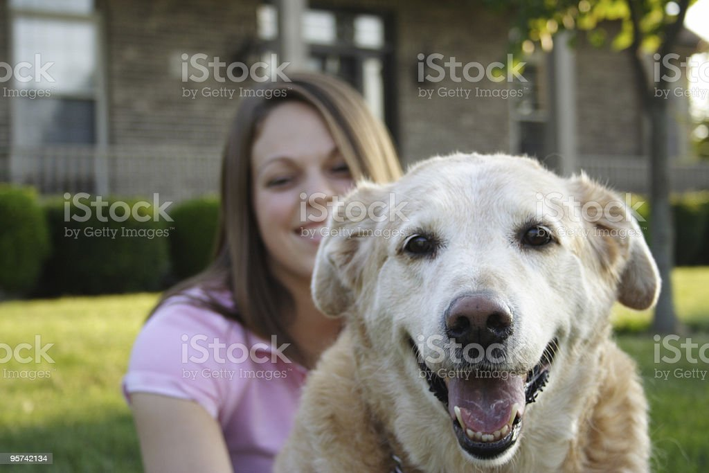 Young Woman & Dog stock photo
