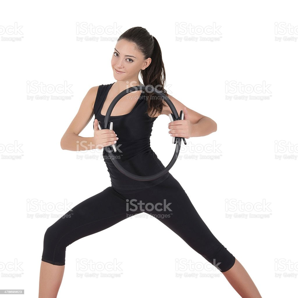 Young woman doing fitness exercise royalty-free stock photo
