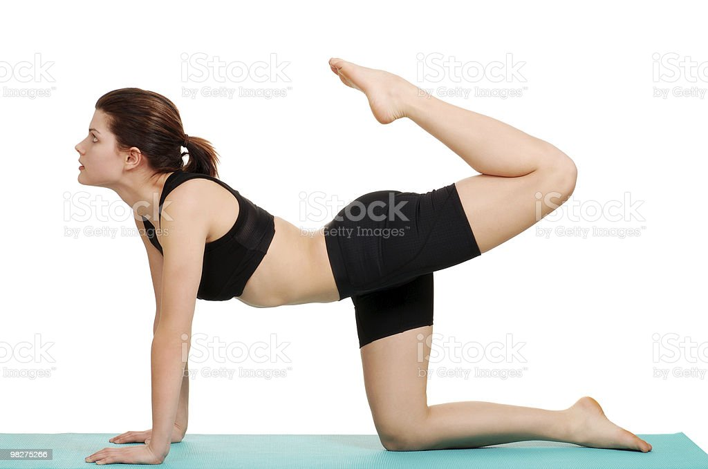 young woman doing leg curl royalty-free stock photo