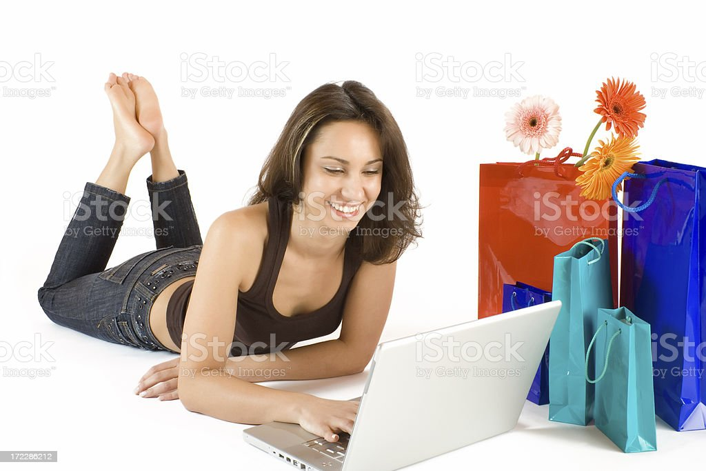 Young woman doing online shopping royalty-free stock photo