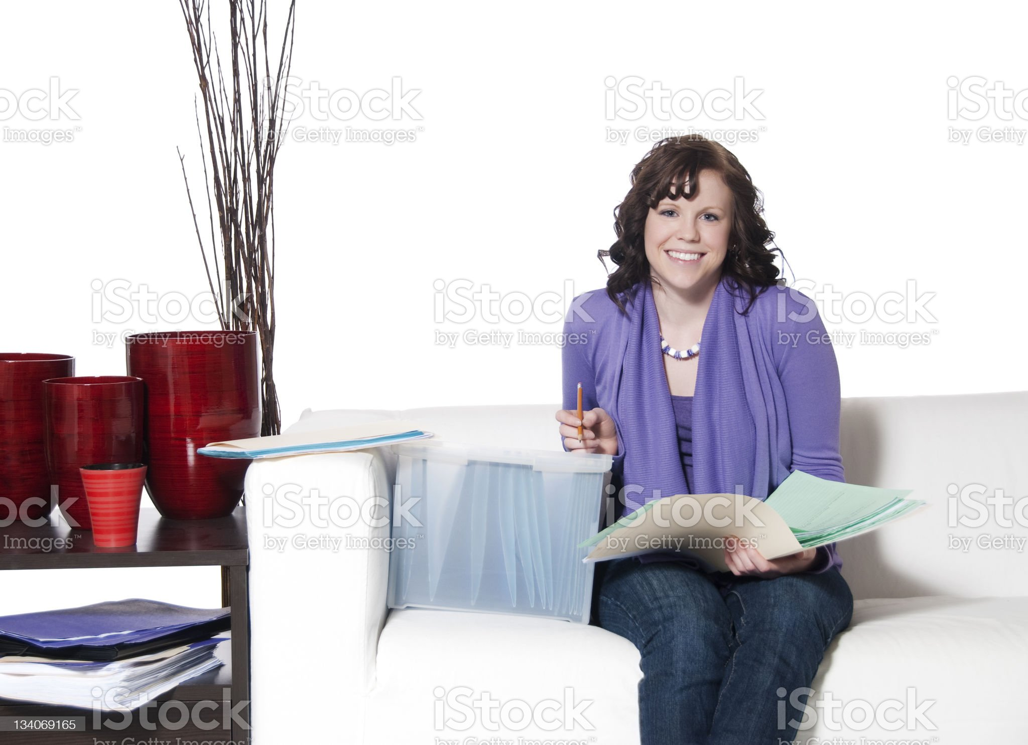 Young Woman Doing Paperwork royalty-free stock photo