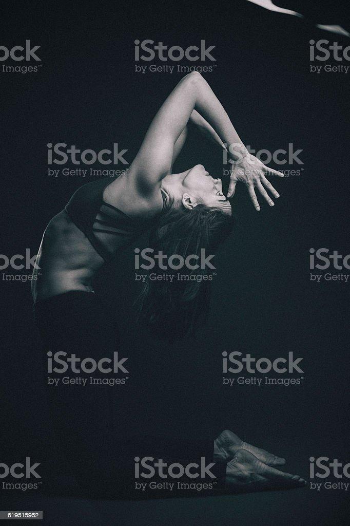 Young Woman Doing Yoga Meditation Exercise stock photo