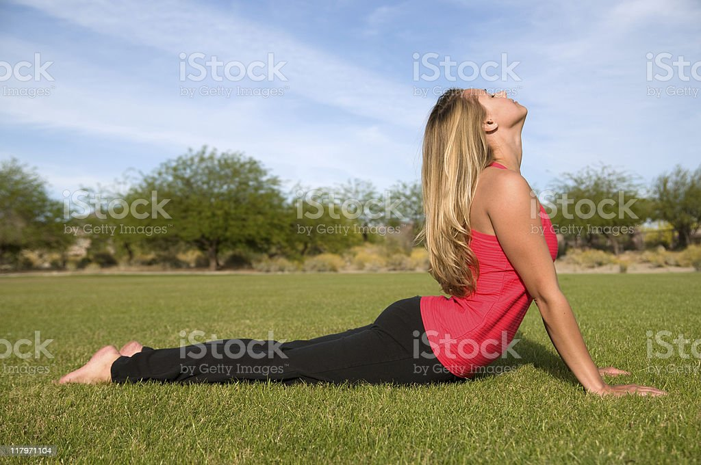 Young woman doing Yoga. stock photo