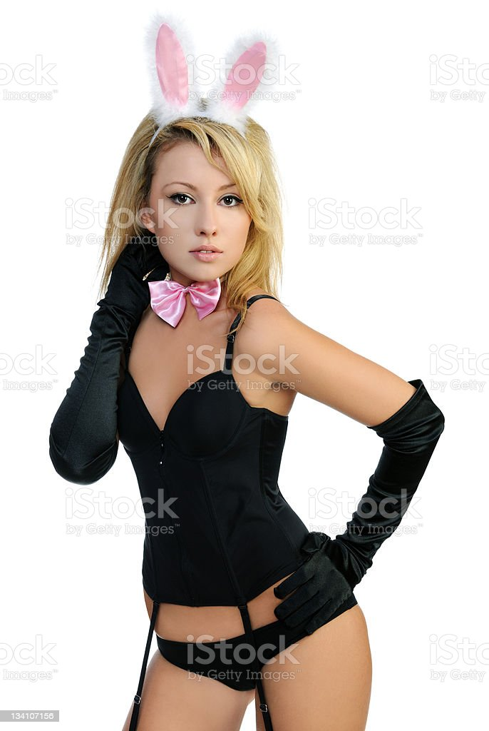 Young woman dressed as a seductive bunny rabbit stock photo