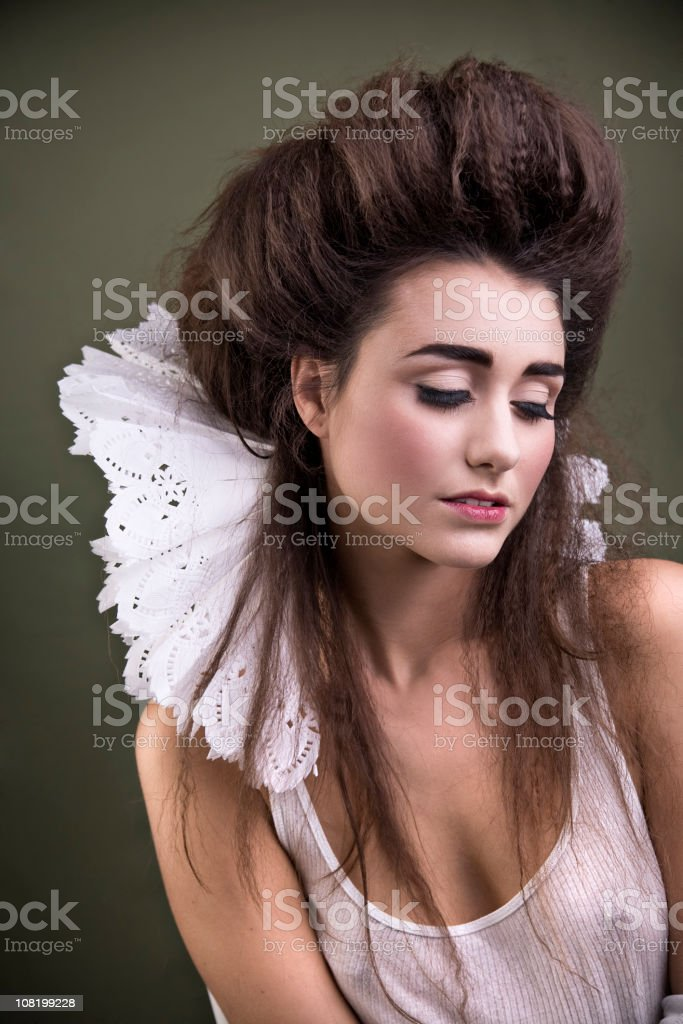 Young Woman Dressed as Contemporary Queen with Collar royalty-free stock photo