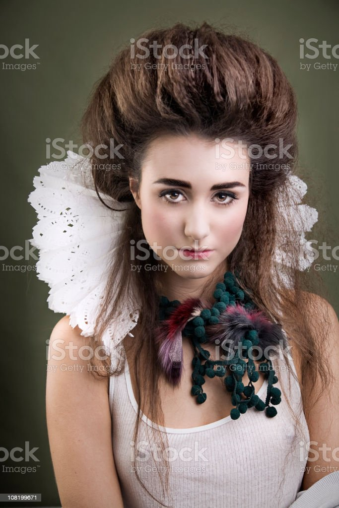 Young Woman Dressed as Contemporary Queen with Collar stock photo