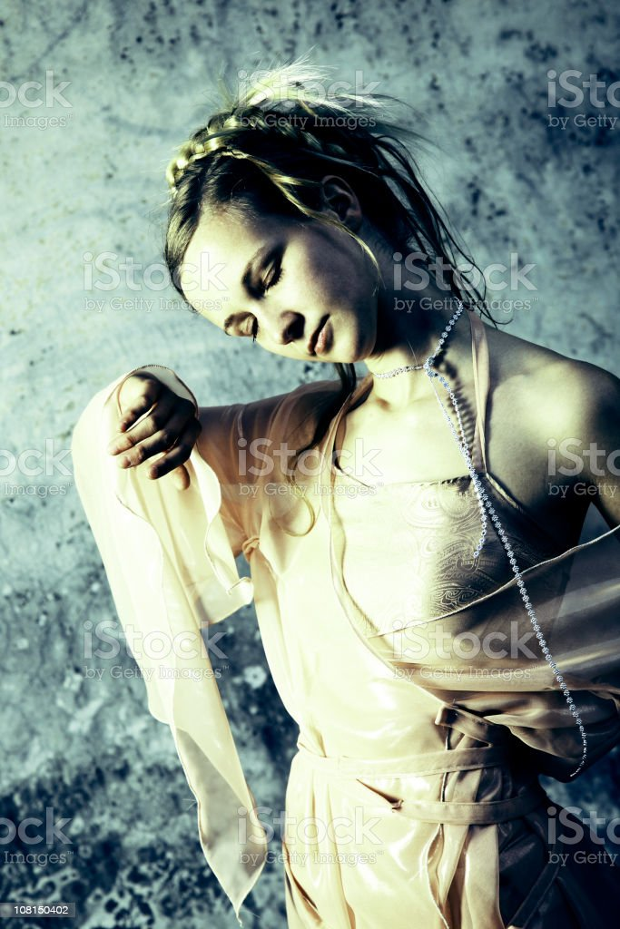 Young Woman Dressed as Fairy Princess, Toned stock photo