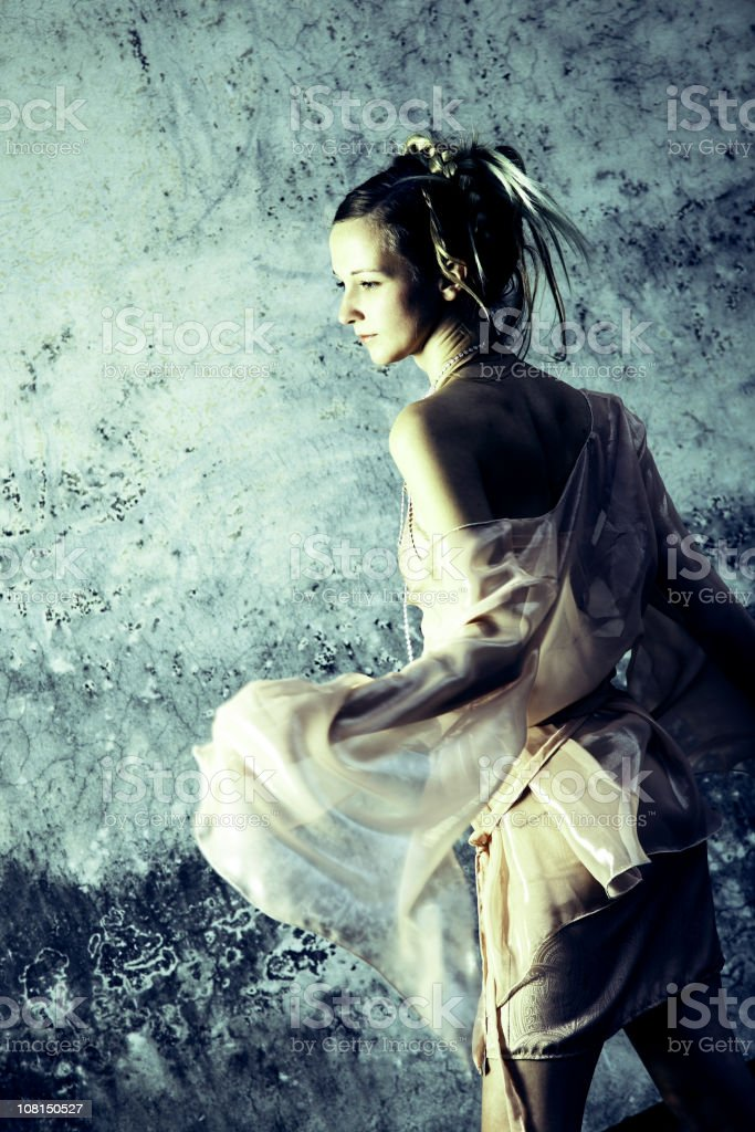 Young Woman Dressed as Fairy Princess, Toned royalty-free stock photo