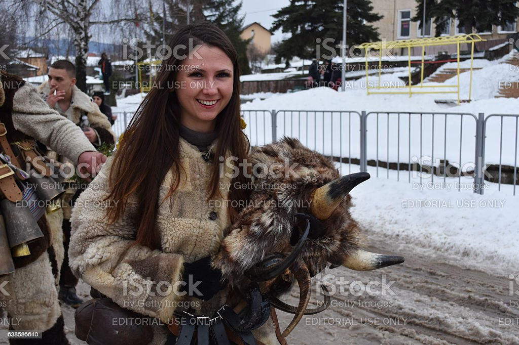 Young woman dressed as kuker stock photo