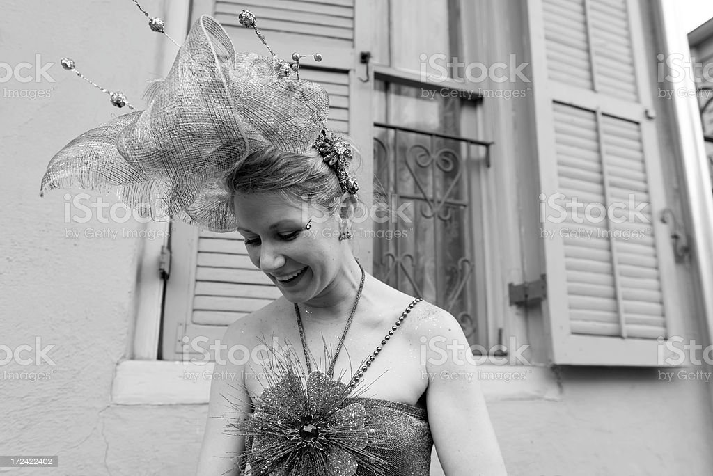 Woman dressed for Fat Tuesday in New Orleans royalty-free stock photo