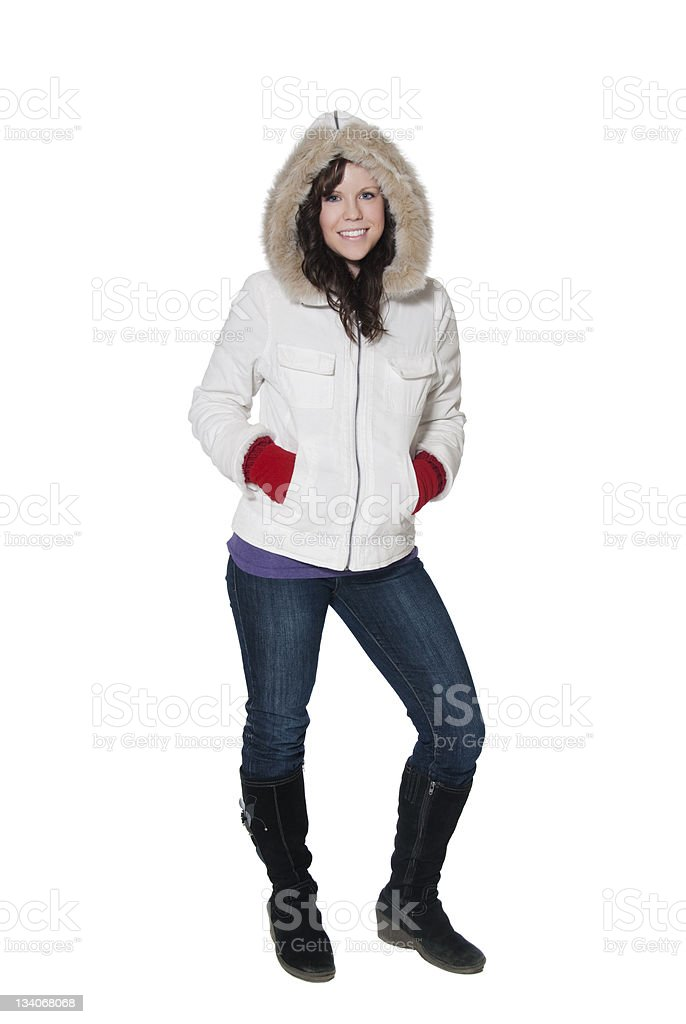 Young Woman Dressed for Winter stock photo