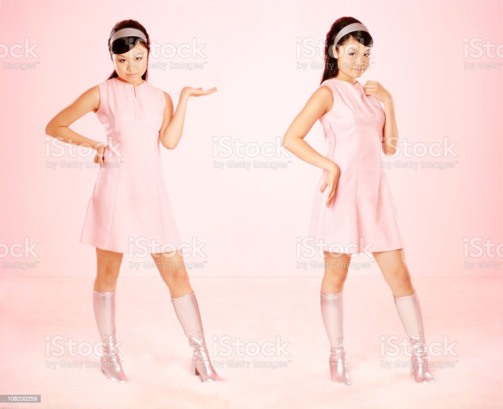 Young Woman Dressed in Retro Clothing royalty-free stock photo