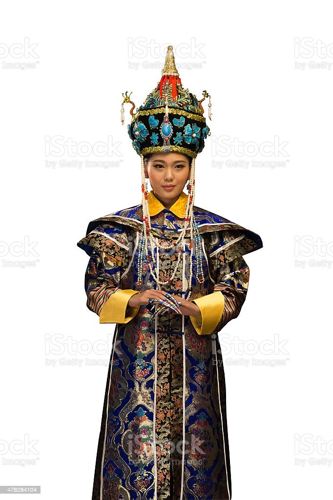 Young woman dressed in traditional Chinese costumes stock photo