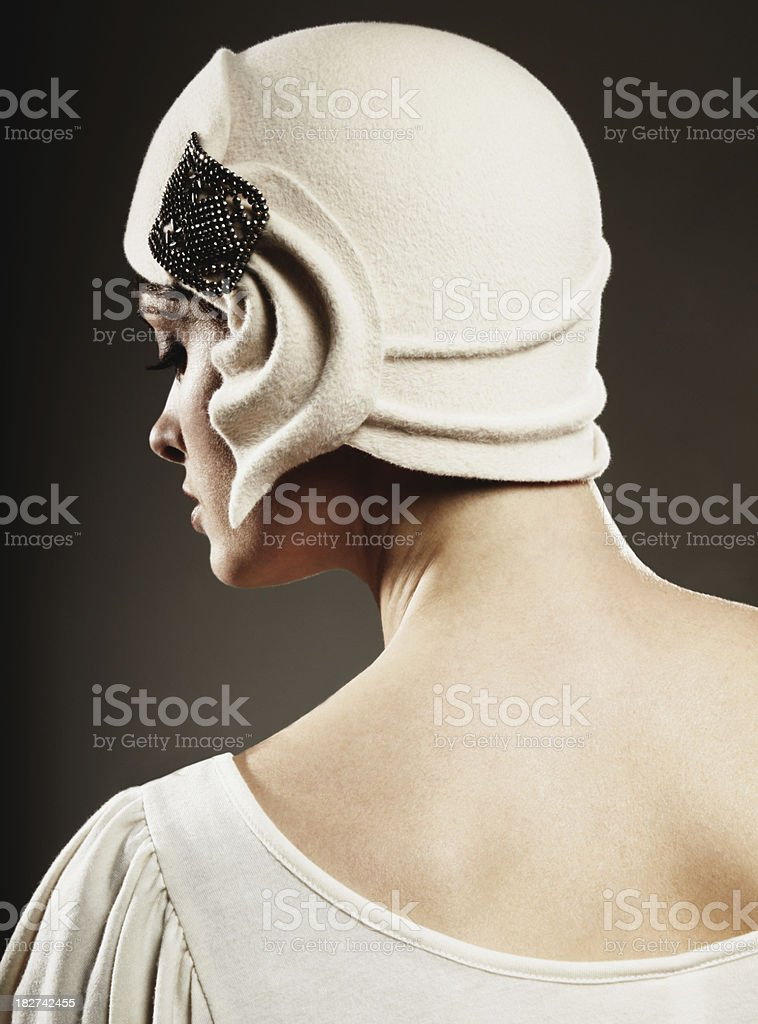 Young Woman Dressed in Vintage Clothing stock photo