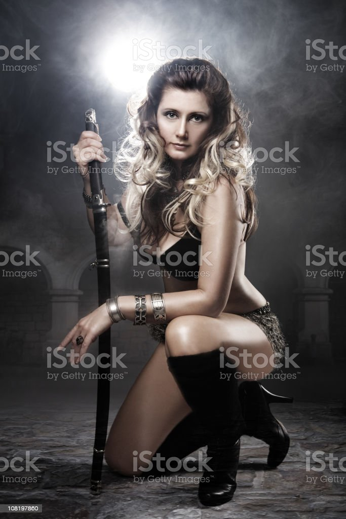 Young Woman Dressed Like Warrior stock photo
