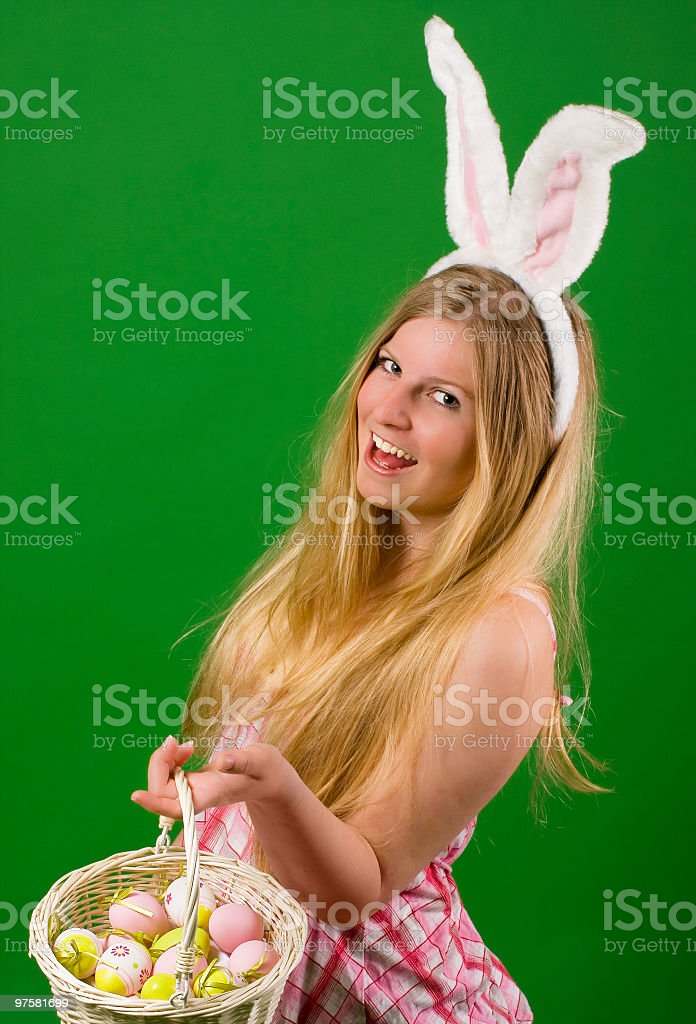 Young woman dressed up for Easter royalty-free stock photo
