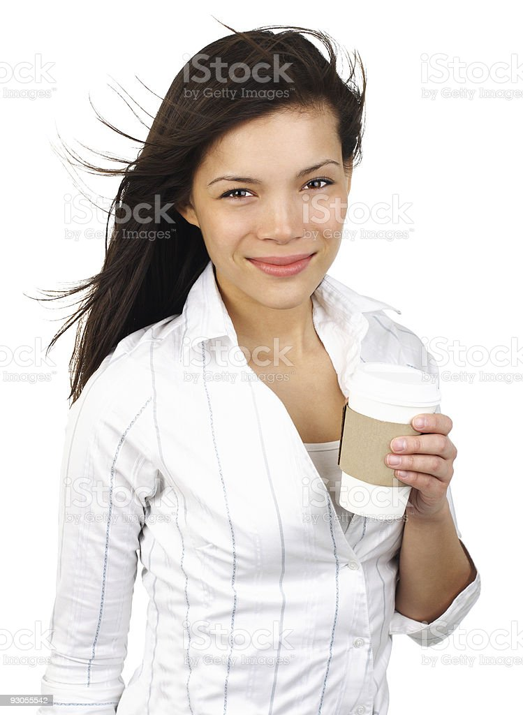 Young woman drinking coffee in disposable cup royalty-free stock photo