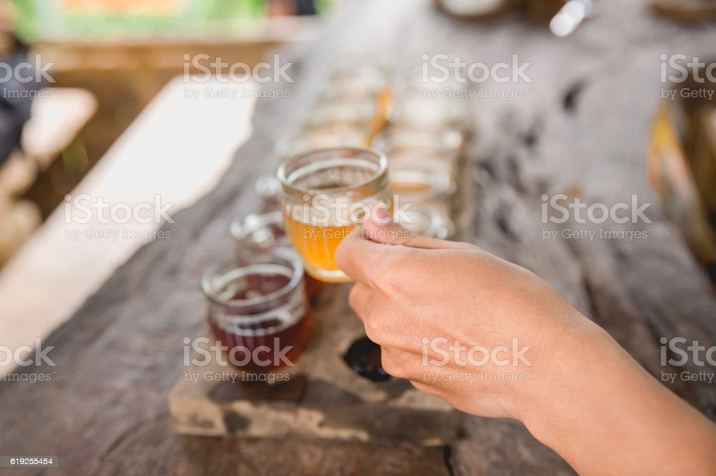 Young woman drinking herbal tea stock photo