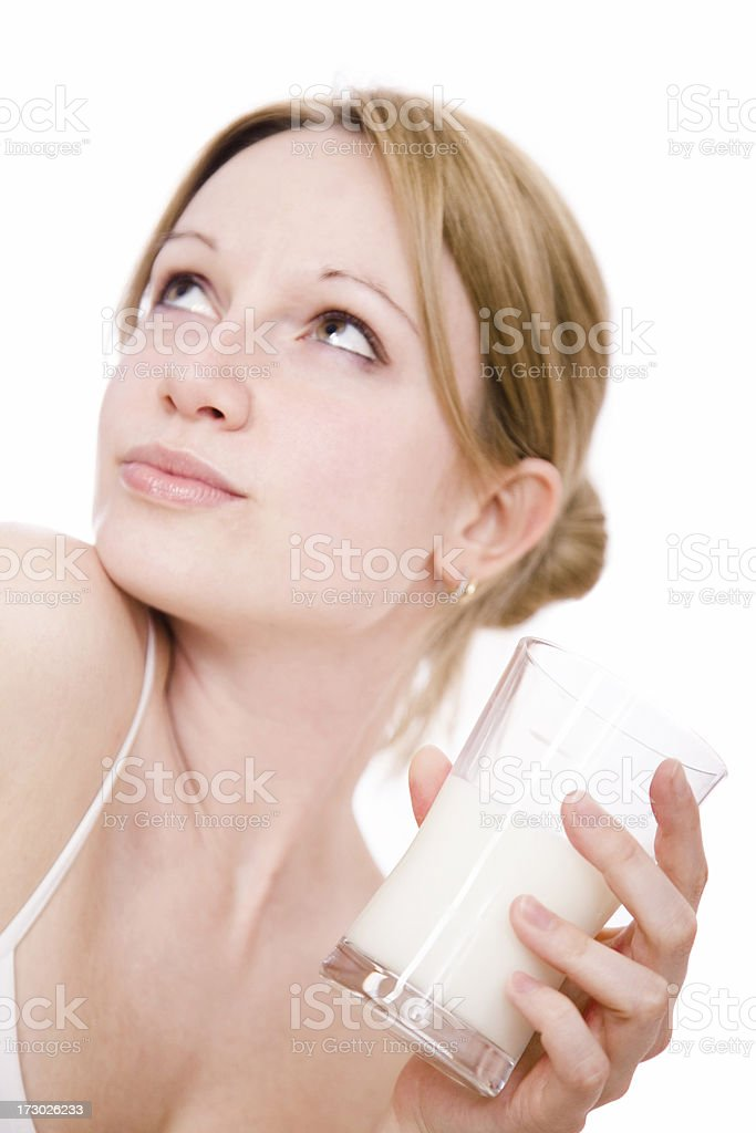 Young woman drinking milk royalty-free stock photo