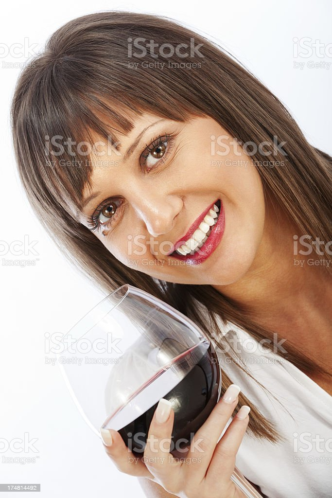 Young woman drinking red wine royalty-free stock photo