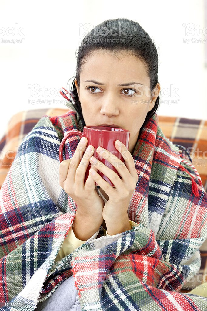 young woman drinking tea royalty-free stock photo