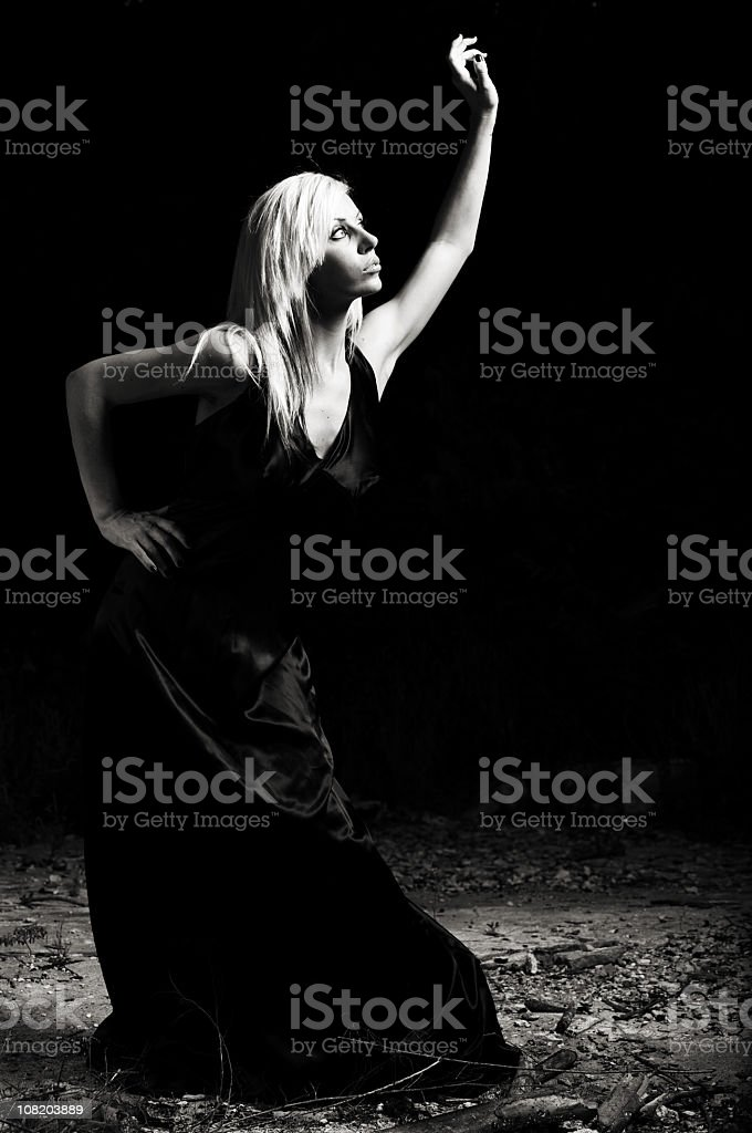 young woman dusk portraits stock photo