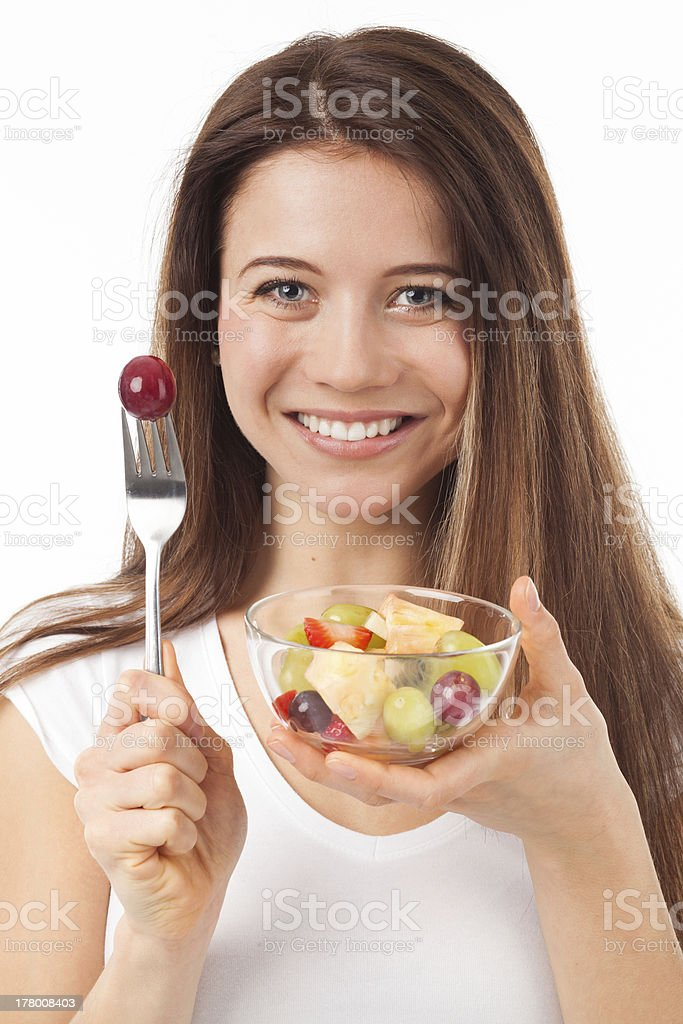 Young woman eating fruits royalty-free stock photo