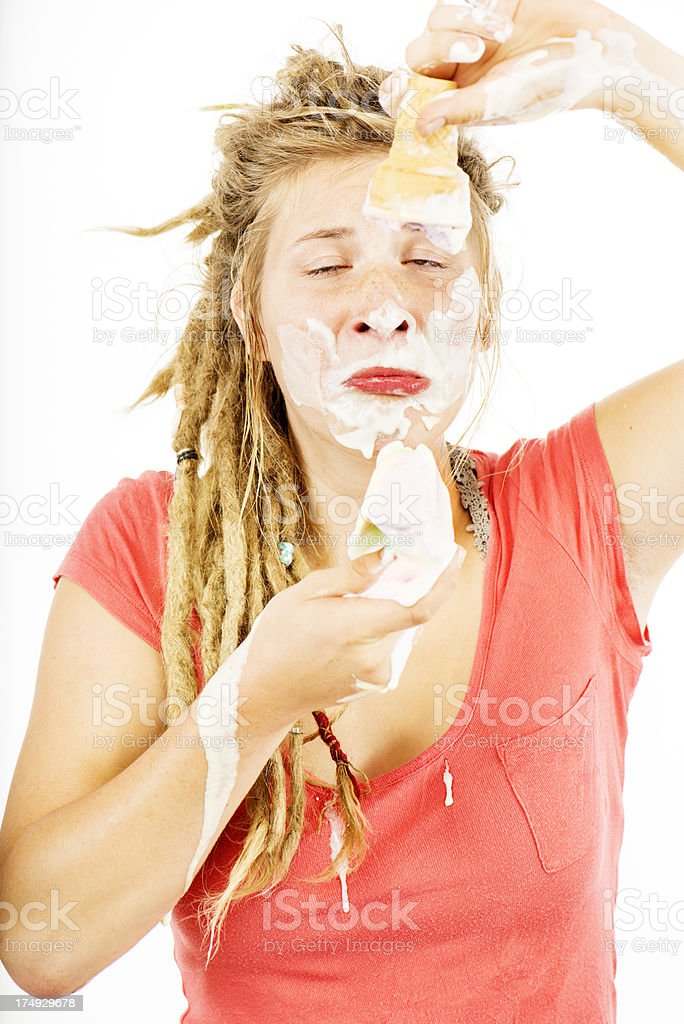 Young Woman Eating Icecream stock photo