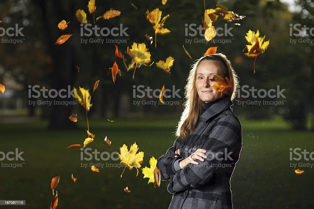 Young woman ejoying autumn royalty-free stock photo
