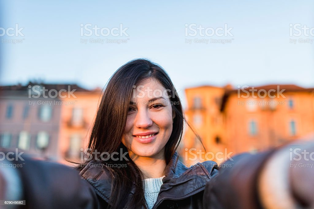 Young woman embracing stock photo