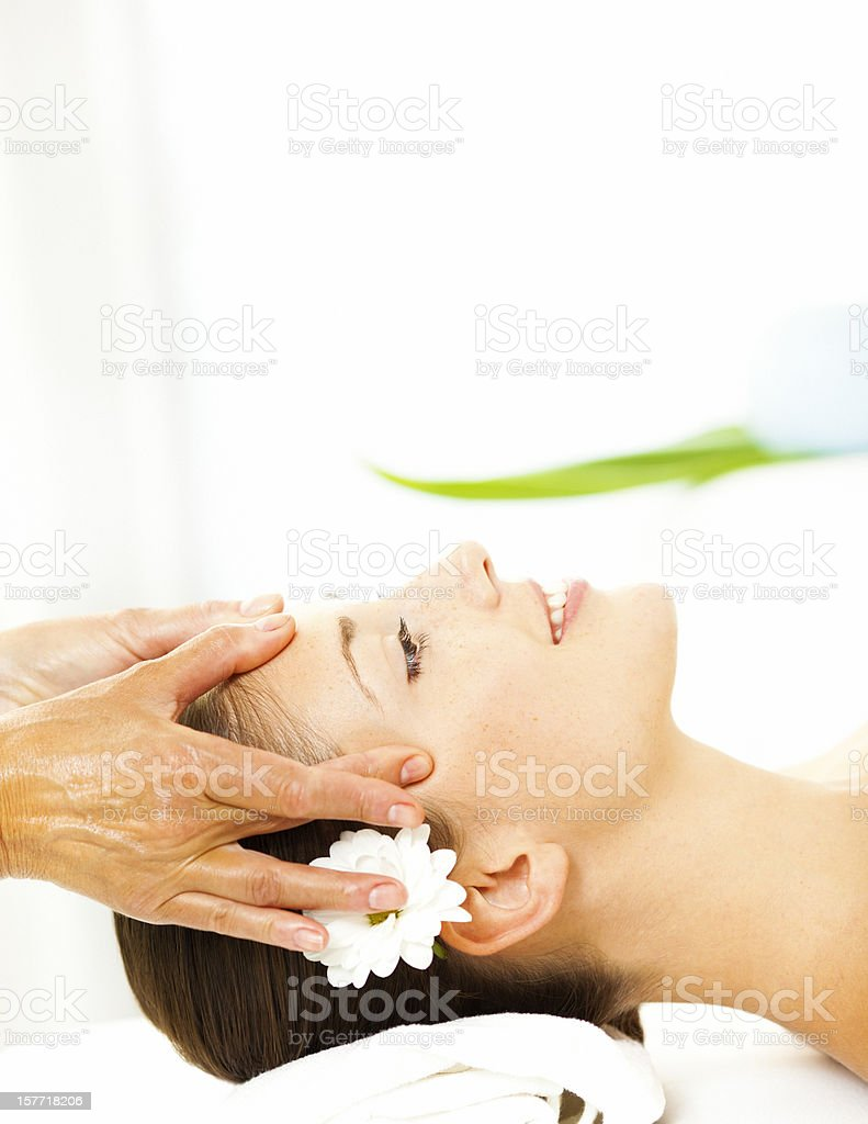 Young Woman Enjoy Head Massage. royalty-free stock photo