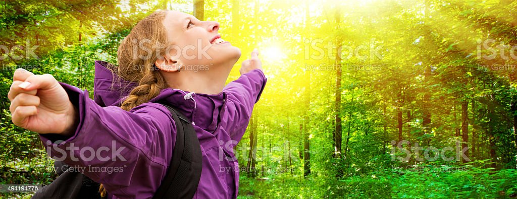 Young woman enjoy the day stock photo