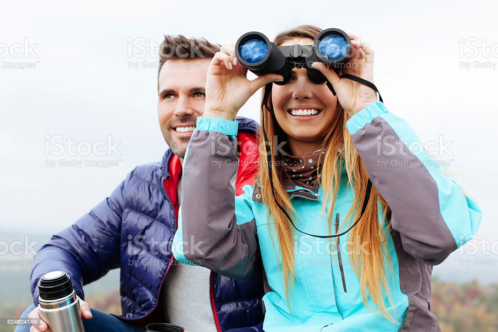 Young woman enjoy the view stock photo