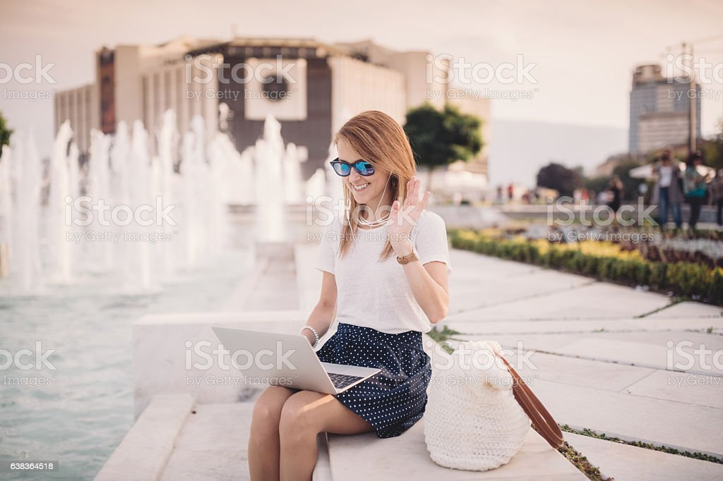 Young woman enjoying a video call stock photo