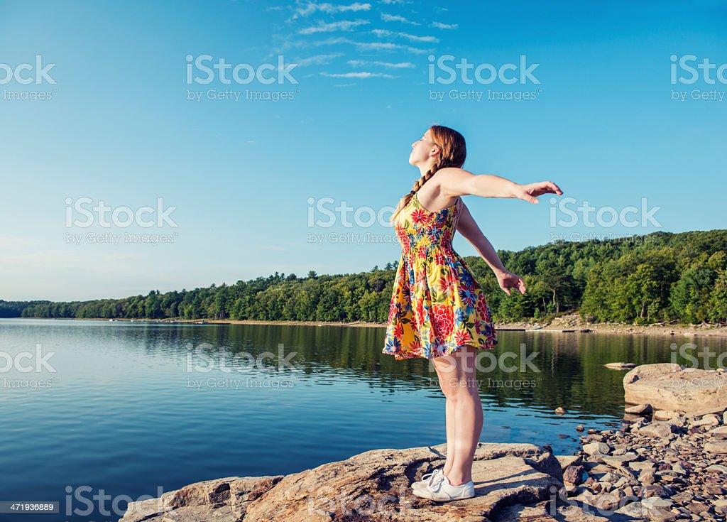 Young Woman Enjoying Catskill Mountains Lake New York stock photo